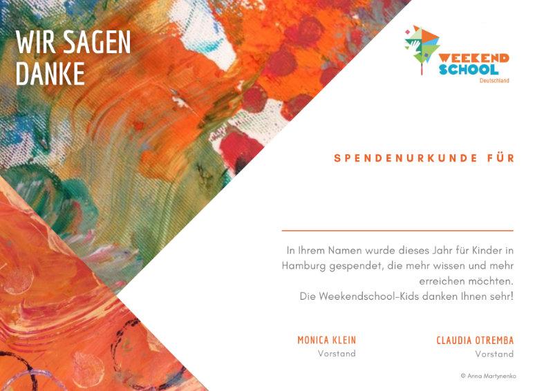 Spendenurkunde Weekendschool 2021